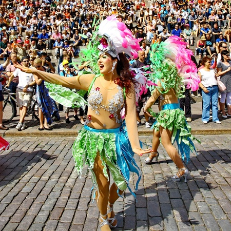 HELSINKI, FINLAND - JUNE 16: An unidentified dancers participates at the annual Samba Carnaval in Helsinki, Finland on June 16, 2012 Stock Photo - 14143552