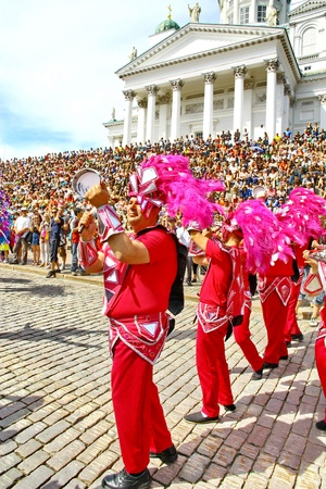 HELSINKI, FINLAND - JUNE 16: An unidentified dancers participates at the annual Samba Carnaval in Helsinki, Finland on June 16, 2012 Stock Photo - 14145821
