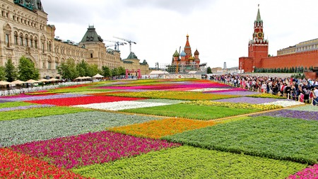 MOSCOW - JULY 20: Flower Festival in Red Square in honor of 120th anniversary of the trading house GUM on July 20, 2013 in Moscow. For the festival have been grown more than 650 thousand flowers.