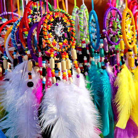 Native American colorful dreamcatchers on artisan market Stock Photo