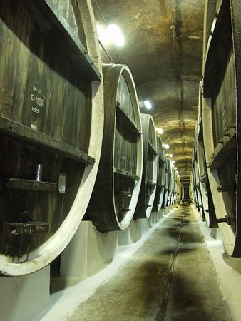 casks: Barrels of Port wine await shipping