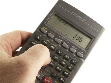 cut wrist: Hand with Scientific Calculator