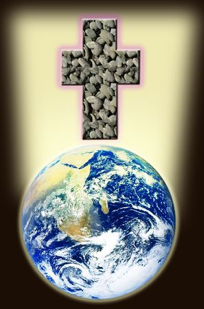 sanctification: Cross of rock shines above world. Stock Photo