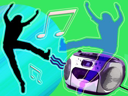 strut: Illustration of Dancing to the music with boombox & CDs. Stock Photo