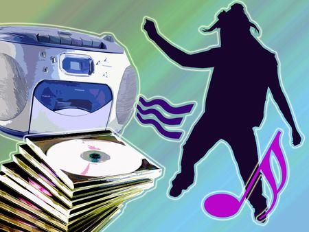 strut: Illustration of good feelings dancing to music.