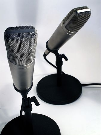 newscast: Two professional studio microphones. Stock Photo