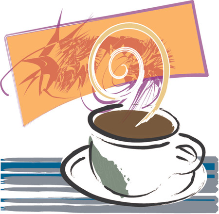 java: Coffee cup full of java in this grunge style illustration, with elements in vector layers.