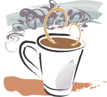 Grunge style illustration of full coffee cup with steam swirls and elements on separate vector layers. Vector
