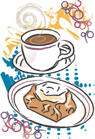 danish: Coffee with Danish Pastry are featured in this grunge style vector illustration.