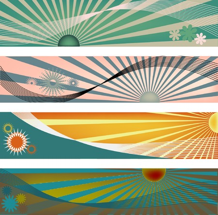 grungy header: Four modern banner size headers with sun ray elements in vector format.