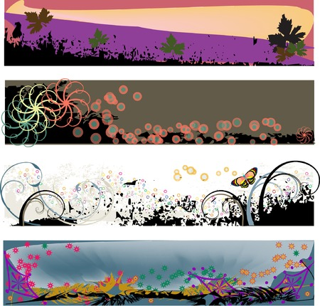 Four colorful banner headers perfect for blogs with a grungy modern look - in Vector Format.