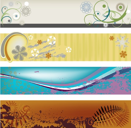 Four modern, abstract, gungy banners perfect for headers and banners. Illustration