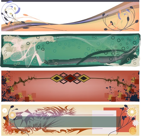 vector banners or headers: Four modern organic, grunge style banners perfect for headers, JPG and Vector available. Illustration