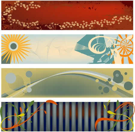 masthead: Four modern abstract banners in popular color schemes... vector format.