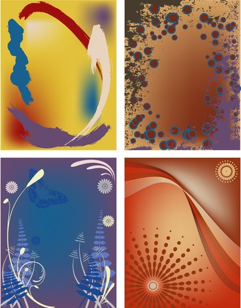 masthead: Four modern abstract backgrounds, postcard size in vector format. Illustration