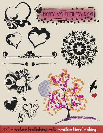 Valentines Set of decorative heart theme elements.  Vector