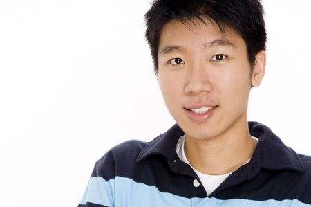 A young chinese man in casual top on white background Stock Photo - 401174