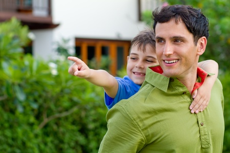Father and son enjoying themselves outdoor  Stock Photo - 9919173