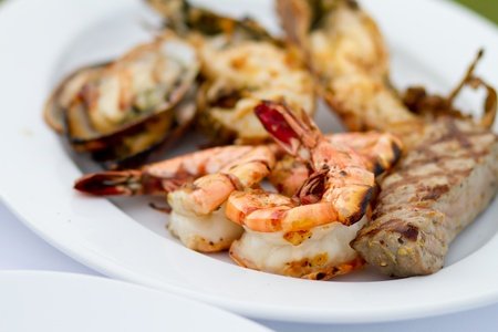 Delicious looking grilled food serve on plate Stock Photo - 9919181