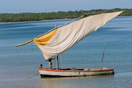 Mozambique: Traditional sail boat called a dhow, Vilanculos coastal sanctuary, Mozambique