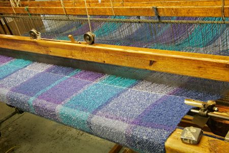 manufactured: Woven fabrics being manufactured in Ireland Stock Photo