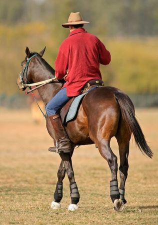El hombre montado en un caballo  Foto de archivo - 486205