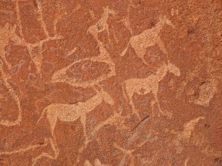 engravings: Rock engravings of African wildlife subjects, Twyfelfontein archaeological site, Namibia