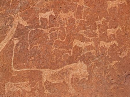 archaeological: Rock engravings of African wildlife subjects, Twyfelfontein archaeological site, Namibia