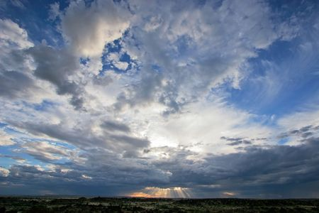 Dramatic sky with storm clouds at sunset, Namibia Stock Photo
