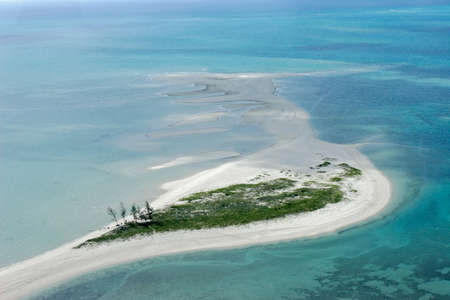 shorelines: Aerial view of small tropical island of the coast of Mozambique