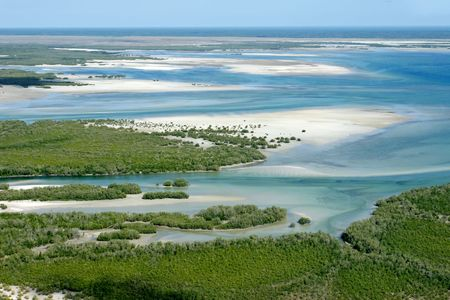 Mozambique: Aerial view of shallow coastal waters and forests of the tropical coast of Mozambique, southern Africa
