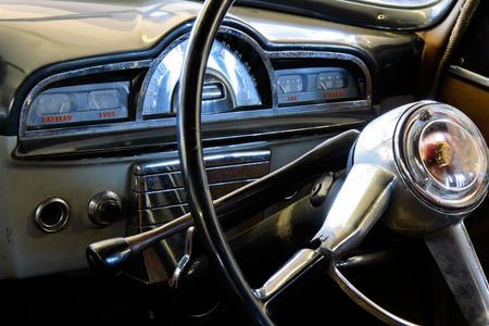View of the interior of an old vintage car Stock Photo - 856734