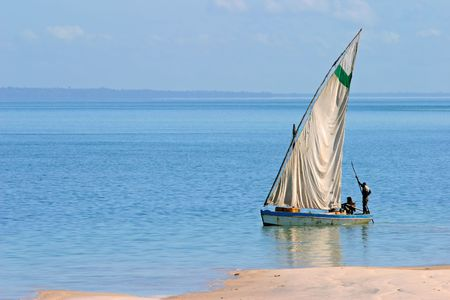 Traditional sail boat called a dhow, Vilanculos coastal sanctuary, Mozambique Stock Photo - 1125528