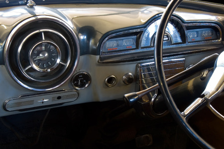 View of the inter of an old vintage car Stock Photo - 1727597