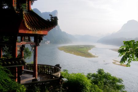 Early morning view over the li river, Yangshuo, China  photo