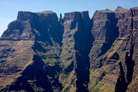 View of the high peaks of the Drakensberg mountains, Royal Natal National Park, South Africa photo