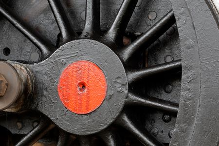 Close-up of a wheel of a vintage steam locomotive Stock Photo - 4787091