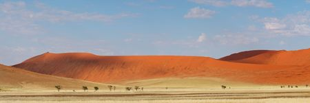 Panorama landscape of red desert sand dunes, Sossusvlei, Namibia, southern Africa Stock Photo - 6250850