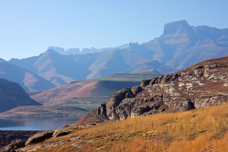 View of the high peaks of the Drakensberg mountains, South Africa photo
