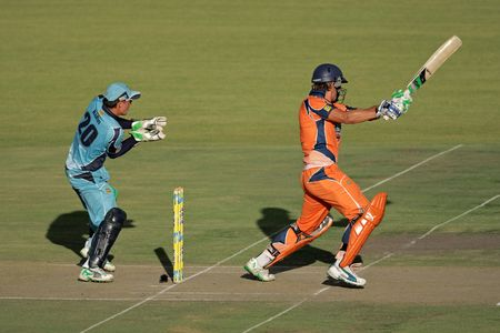 ABloemfontein, South Africa - December 22, 2009 - Action during a one-day cricket match between the Eagles and Titans (Titans won by four wickets)