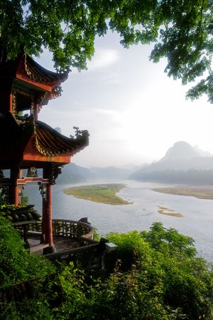 Early morning view over the Li-river, Yangshuo, China photo