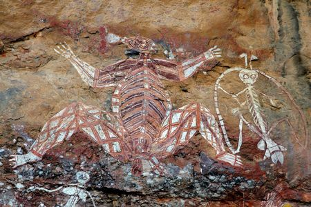 Aboriginal rock art (Namondjok) at Nourlangie, Kakadu National Park, Northern Territory, Australia photo