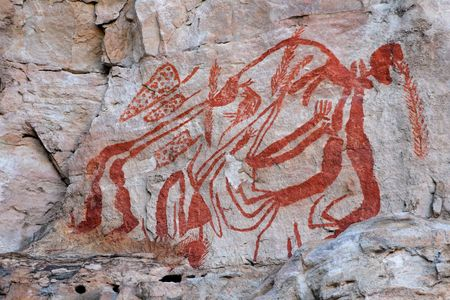 Aboriginal rock art at Ubirr, Kakadu National Park, Northern Territory, Australia photo