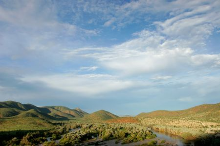 unspoiled: View over  the Kunene river that forms the border between Namibia and Angola, southern Africa