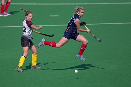 Bloemfontein, South Africa - August 7, 2010 - Action during an annual womans field hockey match between the North West University (NWU) and the University of the Free State (UFS) (NWU won 5-1)