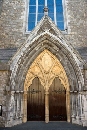 External view of an ancient cathedral, Dublin, Ireland  photo