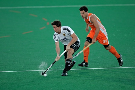 Bloemfontein, South Africa - January 16, 2010 - Action during an international men�s field hockey game between Germany and Netherlands (Netherlands won 2-1)