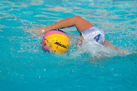 Bloemfontein, South Africa - Janaury 28, 2011 - Water polo players in action during the annual Grey College water polo tournament