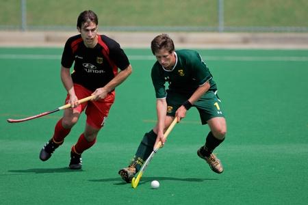 lucifers: Bloemfontein, Zuid-Afrika - 14 maart, 2009 - actie tijdens een internationale mens veld hockey wedstrijd tussen Duitsland en Zuid-Afrika (Duitsland won met 4-3)