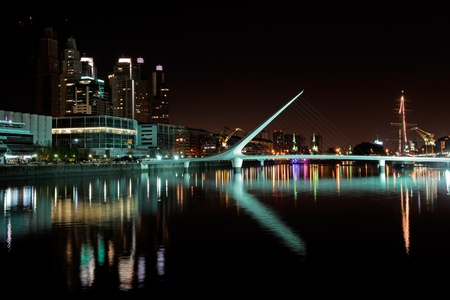 Bridge of the Woman (Puente De La Mujer) by night, Buenos Aires, Argentina Stock Photo - 9800098
